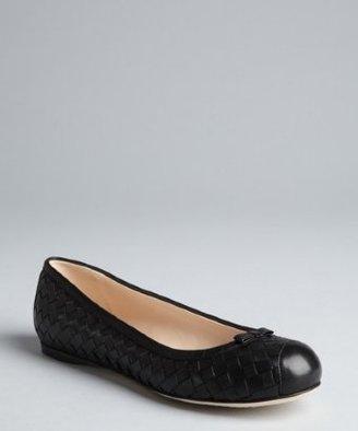 Bottega Veneta black intrecciato leather bow detail flats