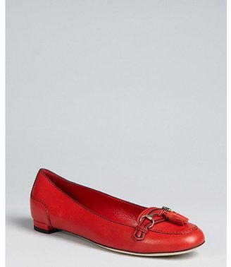 Gucci red leather 'Emily' tassel loafers