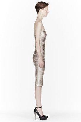 Herve Leger Rose Gold Metallic Strapless Sheath Bandage Dress
