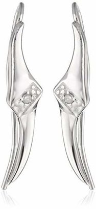 The Ear Pin Diamond Accent Center Tapered Tips Sterling Earrings