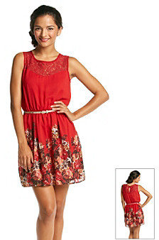 Sequin Hearts Juniors' Belted Printed Swing Dress