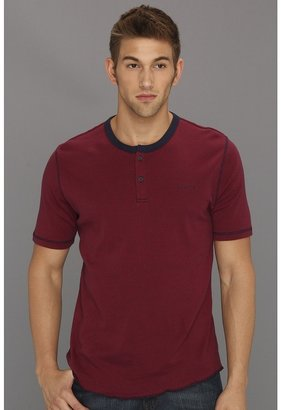 Brixton Lewis Henley (Red/Navy) - Apparel