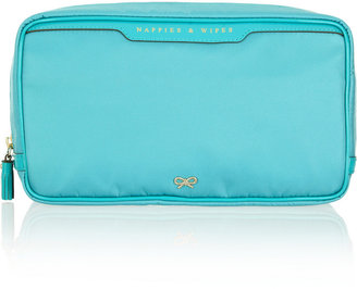 Anya Hindmarch Nappies and Wipes patent leather-trimmed cosmetics case