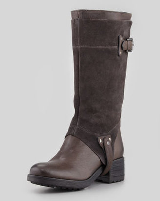 Vera Wang Essie Suede-Shaft Harness Boot, Gray