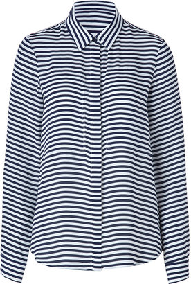 Theory White/Navy Striped Silk Durlia Shirt