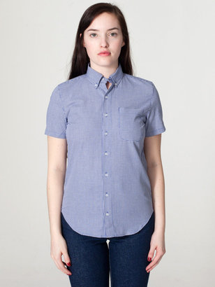 American Apparel Unisex Gingham Short Sleeve Button-Down with Pocket