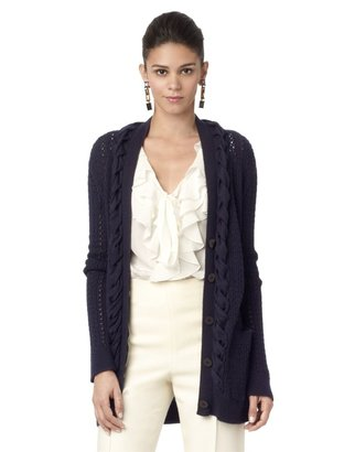 Oscar de la Renta Cable Long Cardigan