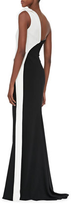 Badgley Mischka Collection Two-Tone One-Shoulder Gown