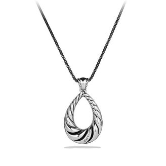 David Yurman Midnight Mé;lange Large Drop Pendant with Diamonds on Chain