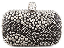 Alexander McQueen Classic Studded Skull-Clasp Clutch Bag, Black/Silver