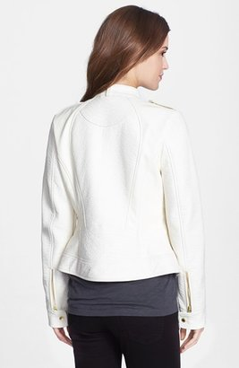 GUESS Textured Detail Faux Leather Jacket