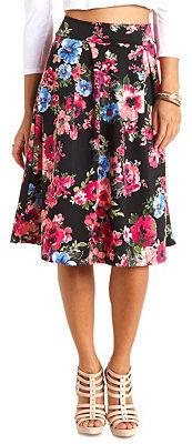 Charlotte Russe Floral Print Full Midi Skirt