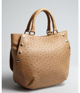 Furla camel ostrich embossed leather 'Royal' snap shopper tote