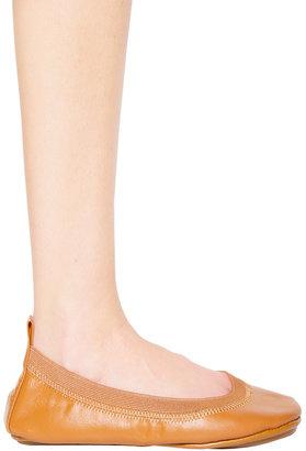 Yosi Samra Flat Leather Ballet Flat in Camel