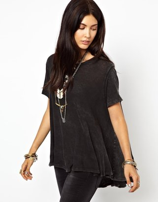 Free People Circle T-Shirt in Linen Cotton Mix