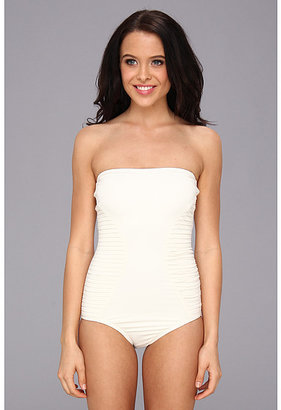 Vince Camuto Pleating Waves Bandeau Maillot w/ Pleating & Removable Soft Cups