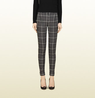 Gucci Grey And White Stretch Wool Holiday Pant