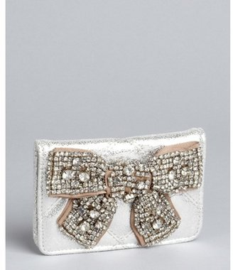 Deux Lux silver quilted faux leather 'Flirt' card case