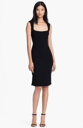 L'Agence Square Neck Ruched Dress