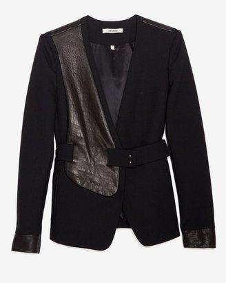 J Brand Ready-to-wear Leather Detail Wool Gaberdine Blazer