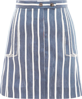 Thom Browne Linen-and-Silk Striped Skirt