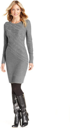 NY Collection Dress, Long-Sleeve Cable-Knit Sweater