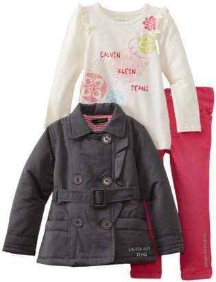 Calvin Klein Girls 2-6X Toddler Jacket With Tee And Pink Jean