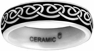 MODERN BRIDE 6mm Black and White Ceramic Ring