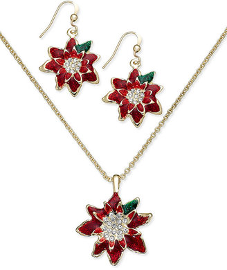 Charter Club Gold-Tone Poinsettia Drop Earrings and Pendant Necklace Jewelry Set
