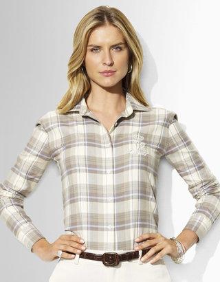 Lauren Ralph Lauren LAUREN BY RALPH LAUREN Alie Plaid Cotton Twill Shirt