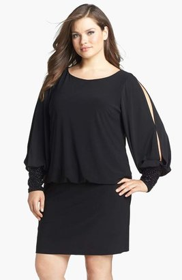 Xscape Evenings Embellished Cuff Blouson Jersey Dress