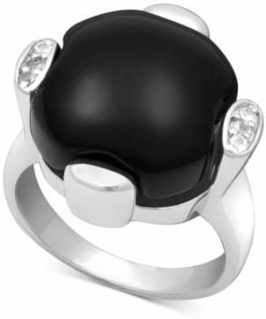 Macy's Sterling Silver Ring, Onyx (13-14mm) and White Topaz (9/10 ct. t.w.)