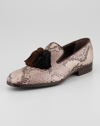 Jimmy Choo Foxley Python Tassel Loafer, Taupe/Black