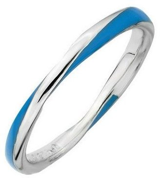 Simply Stacks Sterling Loosely Twisted Enamel Stackable Ring