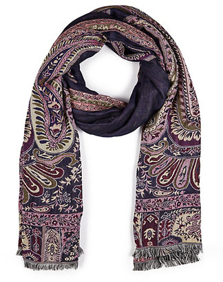 Marks and Spencer Indigo Collection Paisley Floral Jacquard Scarf with Modal