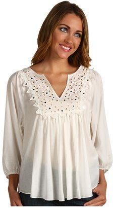 Rebecca Taylor Tiles Embroidered Blouse (White) - Apparel