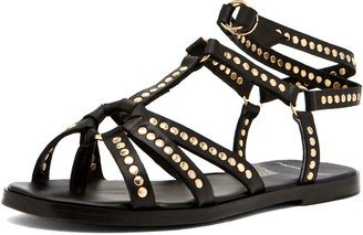 Pierre Hardy Leather Studded Sandal in Black/Gold