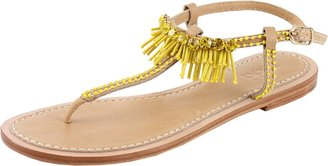 Rada' RADA T-Strap Sandal with Fringe and Crystal