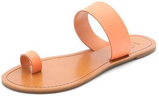 Gorjana Del Mar Leather Sandals Coral