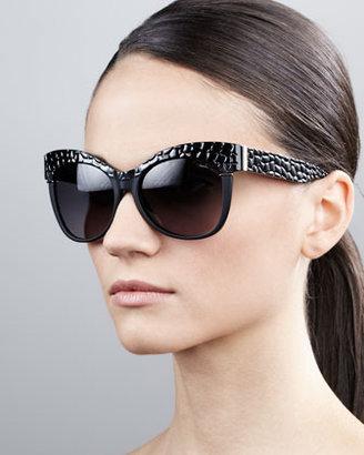 Roberto Cavalli Pebble-Textured Cat-Eye Sunglasses, Black/Golden