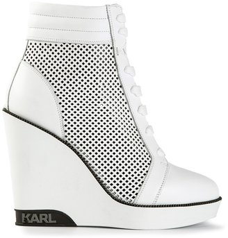 Karl Lagerfeld perforated high wedge trainer boot