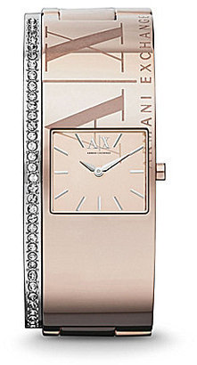 Armani AX Ravenna Rose Gold IP Stainless Steel Etched Logo-Etched Watch