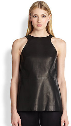 ADAM by Adam Lippes Leather & Chiffon Pleated Inset Shell