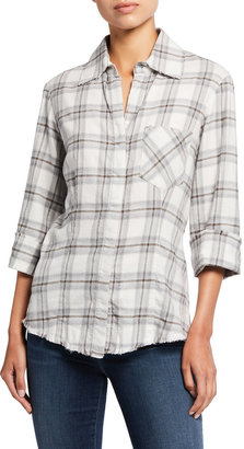 Finley Millie Melange Plaid Frayed-Edge Cotton Shirt
