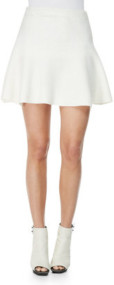 3.1 Phillip Lim Felted Wool Skirt with Fading Foil, Ivory