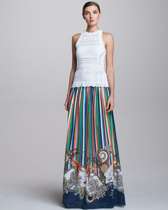 Roberto Cavalli Long Striped Skirt