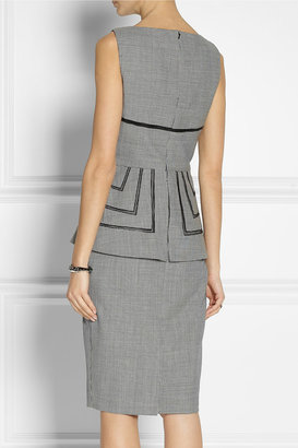Lela Rose Gingham wool peplum dress