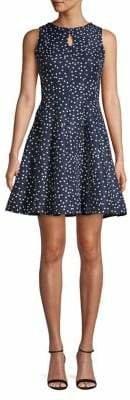 Gabby Skye Polka Dot-Print Sleeveless Fit--Flare Dress
