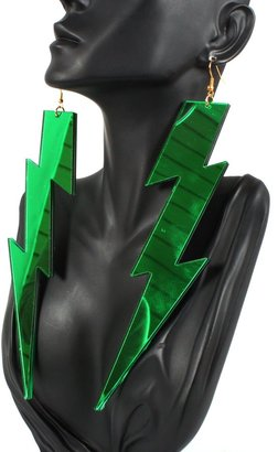Lightning Bolt Green 7 Inch Earrings Light Weight Lady Gaga Paparazzi Basketball Mob Wives