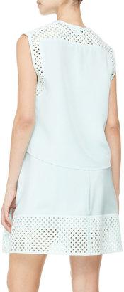 3.1 Phillip Lim Sleeveless Laser-Cut Polka Dot Dress, Pale Aqua